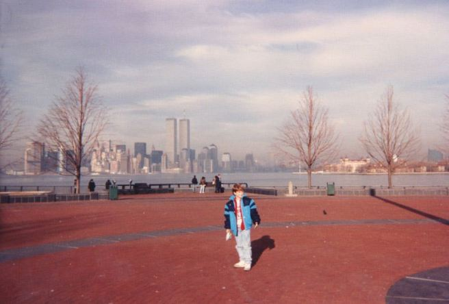 Gus and G.A. at Statue of Liberty Island abt. 1990, long before 9/11/2001