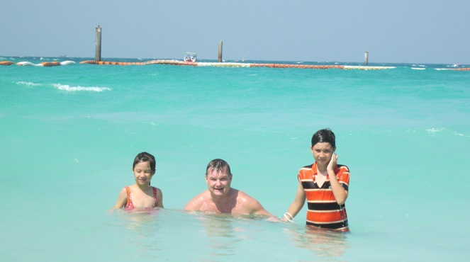 In the clear blue sea at Koh Larn Beach, Thailand, January 2012, it beats shoveling snow.