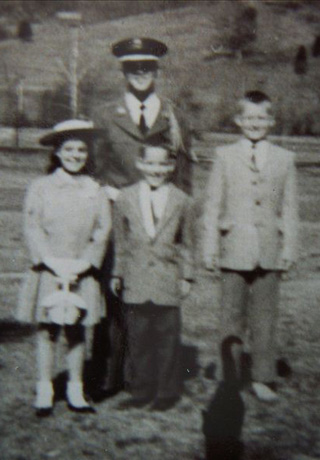 1958 Bill (Augusta Military Academy) pic at Lithia, VA Dairy Farm, Sue, Bill, Joe, G.A.
