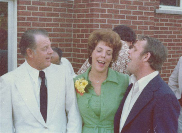 Harmonizing at Bill and Nancy's wedding in Arlington Heights, IL, George, Mary, Bill.